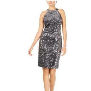 NW Nightway Sequined Velvet Sheath Dress